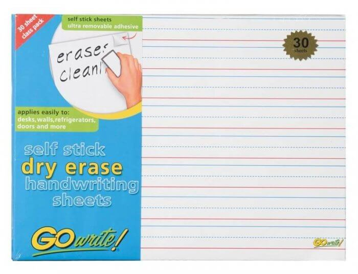 "Dry Erase Sheets  8.25x11; 3/4"" rule; 3/8"" dotted midline"