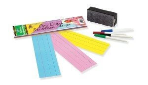 Dry Erase Sentence Strips 3x24 30 pack (assorted colors)