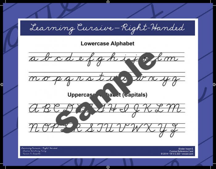 Learning Cursive – Right-Handed Reference Card